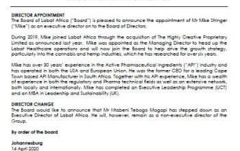 Director Appointment And Change in Role