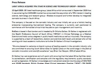 Labat Africa Acquires 70% Stake In Science And Technology Group – Biodata
