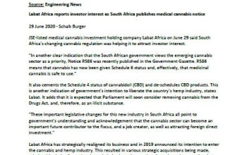 Labat Africa reports investor interest as South Africa publishes medical cannabis notice