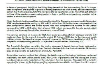 Trading Statement For The Six Months Ended 29 February 2020, Impact Of Covid-19 On Recent Results And Withdrawal Of 5 Year Profit Projections