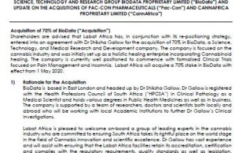 Voluntary Announcement Relating To The Acquisition Of A 70% Interest In Leading Science, Technology And Research Group Biodata Proprietary Limited